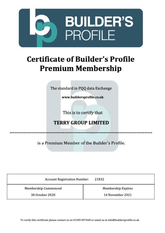 Builders Profile Premium Certificate 20-21