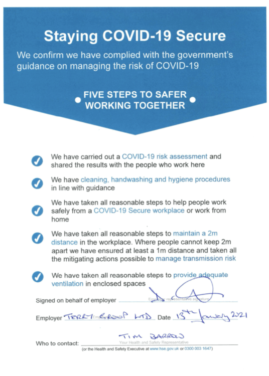 Staying COVID Secure Notice 2021