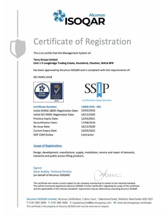 ISO 45001 SSIP Certificate