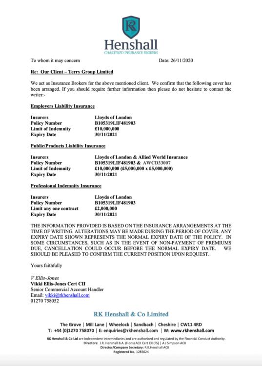 Insurance Confirmation 2020-21