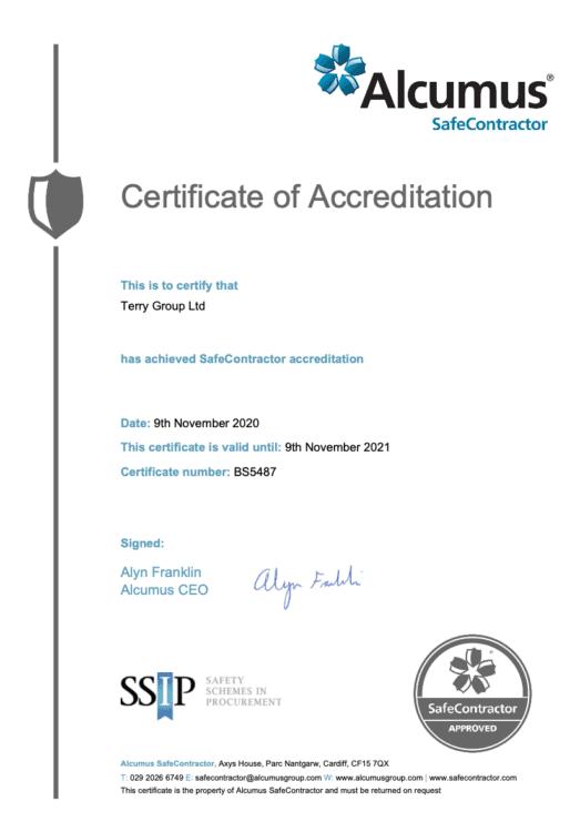 SafeContractor Certificate 2020-21